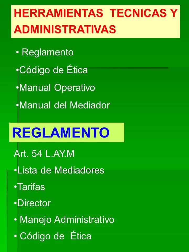 HERRAMIENTAS TECNICAS Y ADMINISTRATIVAS Reglamento Código de Ética Manual Operativo Manual del Mediador REGLAMENTO Art. 54 L.AY.M Lista de Mediadores