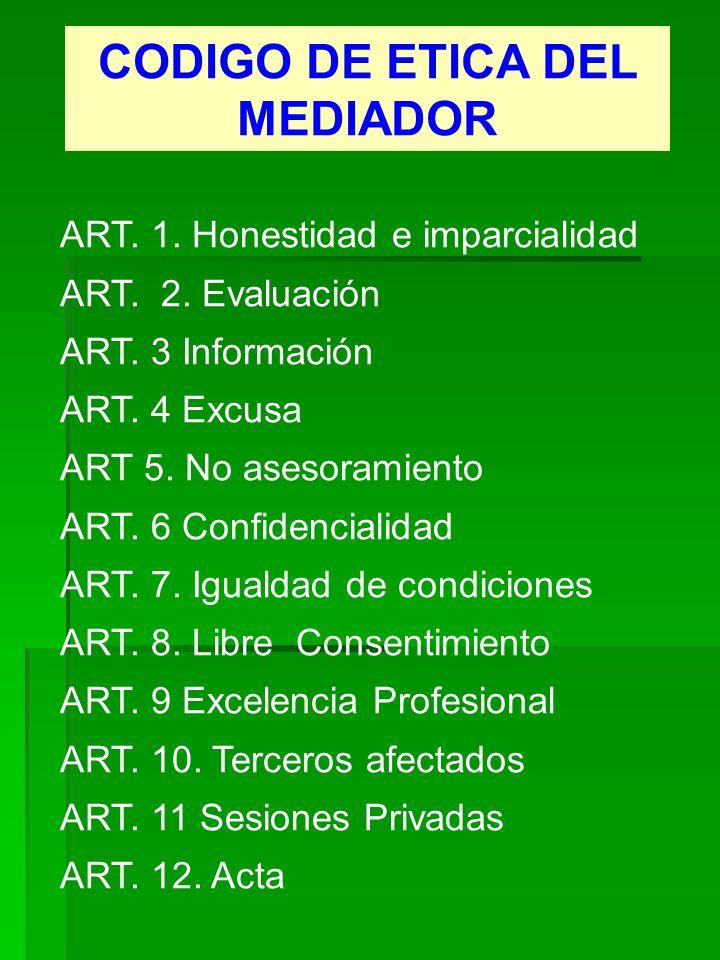 CODIGO DE ETICA DEL MEDIADOR ART. 1. Honestidad e imparcialidad ART. 2. Evaluación ART. 3 Información ART. 4 Excusa ART 5. No asesoramiento ART. 6 Con