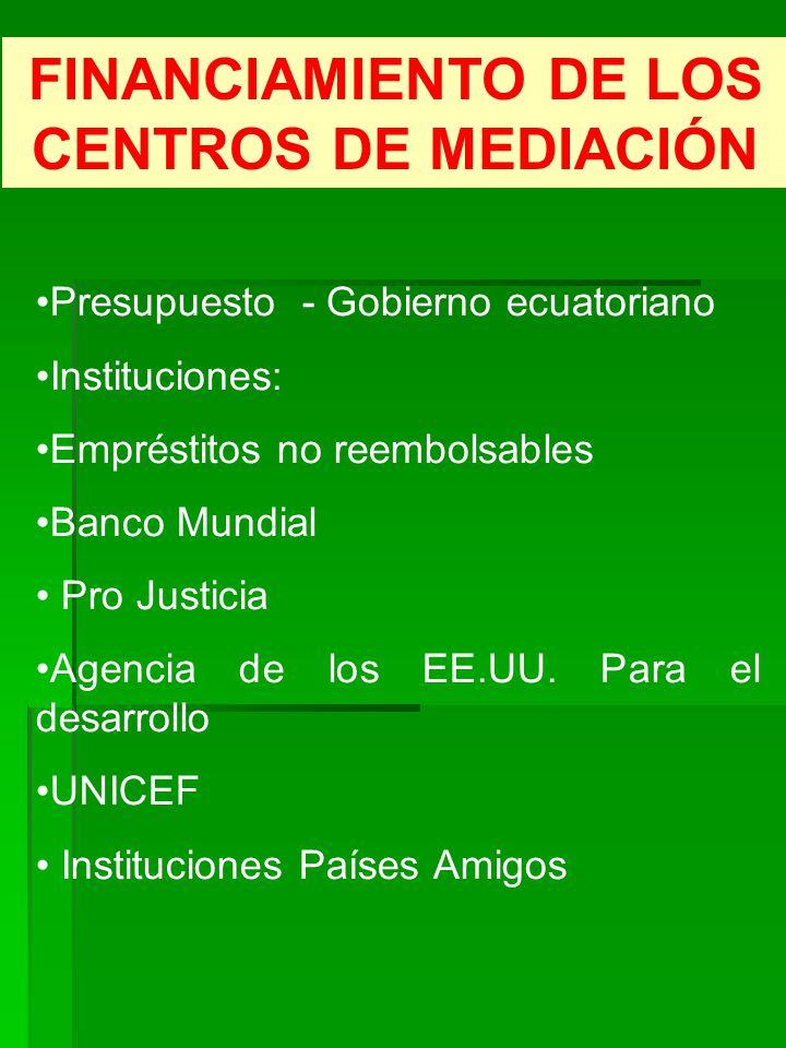 FINANCIAMIENTO DE LOS CENTROS DE MEDIACIÓN Presupuesto - Gobierno ecuatoriano Instituciones: Empréstitos no reembolsables Banco Mundial Pro Justicia A