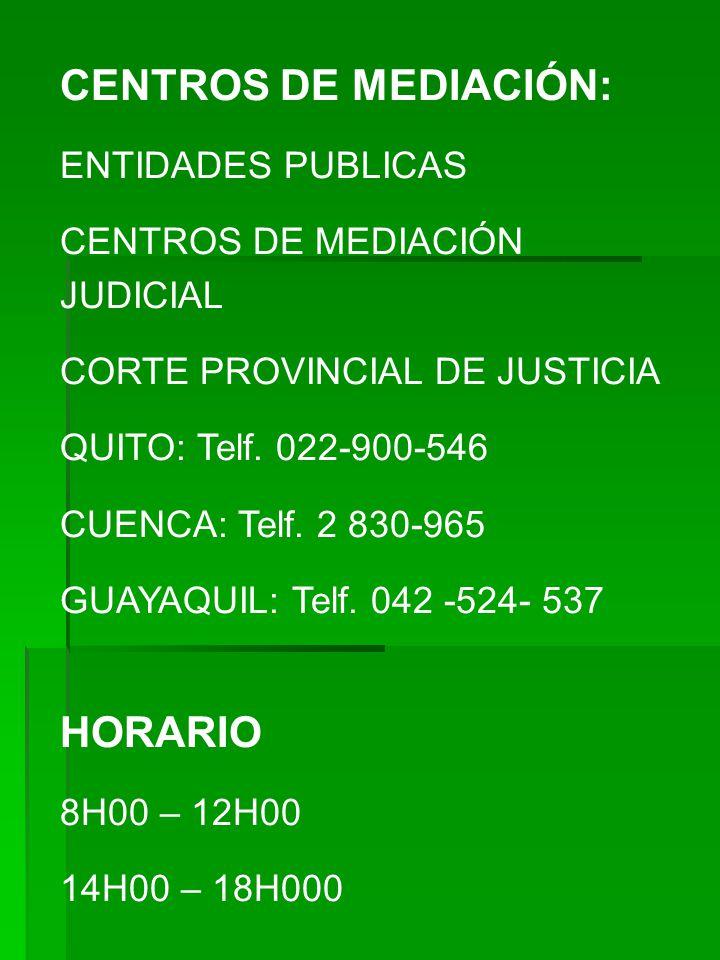 CENTROS DE MEDIACIÓN: ENTIDADES PUBLICAS CENTROS DE MEDIACIÓN JUDICIAL CORTE PROVINCIAL DE JUSTICIA QUITO: Telf. 022-900-546 CUENCA: Telf. 2 830-965 G