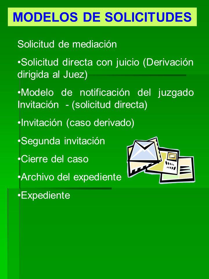 MODELOS DE SOLICITUDES Solicitud de mediación Solicitud directa con juicio (Derivación dirigida al Juez) Modelo de notificación del juzgado Invitación