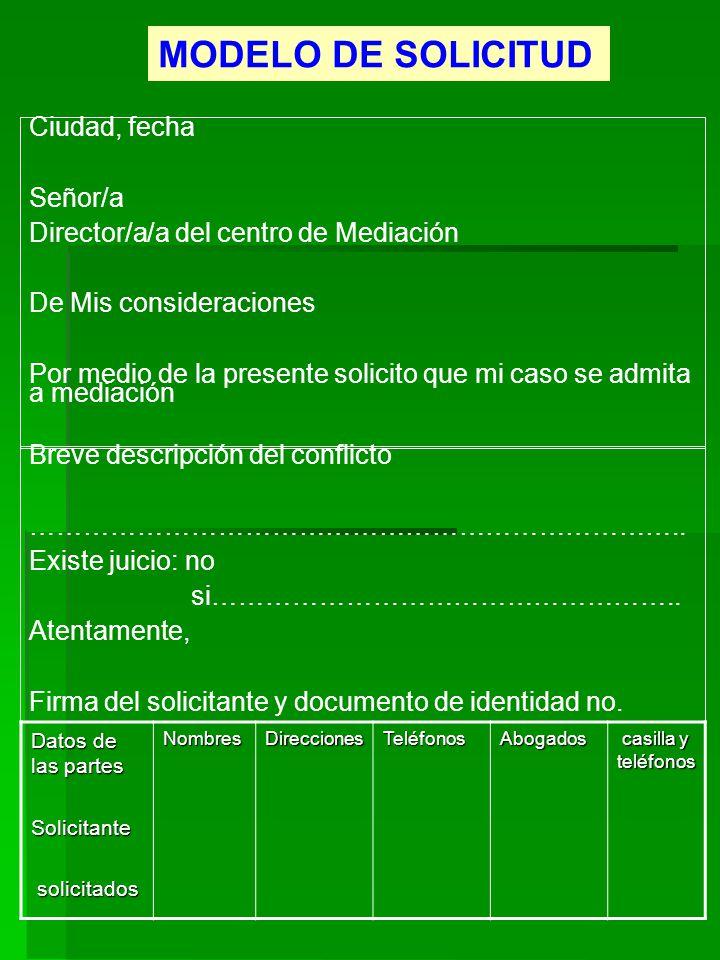 MODELO DE SOLICITUD Ciudad, fecha Señor/a Director/a/a del centro de Mediación De Mis consideraciones Por medio de la presente solicito que mi caso se