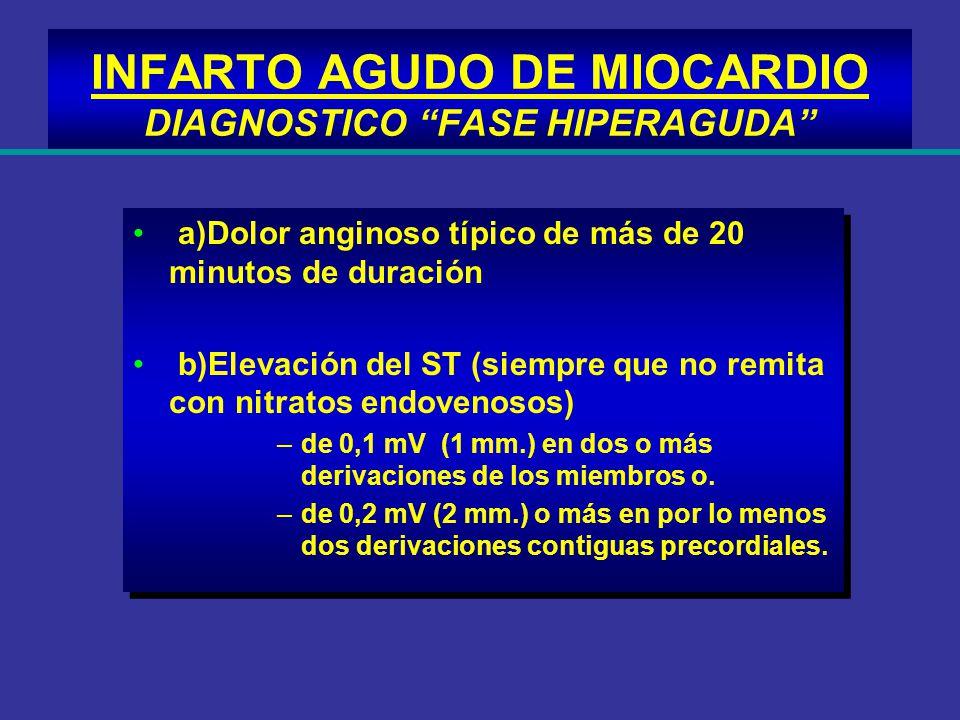 INFARTO AGUDO DE MIOCARDIO DIAGNOSTICO FASE HIPERAGUDA a)Dolor anginoso típico de más de 20 minutos de duración b)Elevación del ST (siempre que no rem
