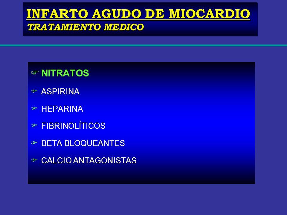 FNITRATOS FASPIRINA FHEPARINA FFIBRINOLÍTICOS FBETA BLOQUEANTES FCALCIO ANTAGONISTAS INFARTO AGUDO DE MIOCARDIO TRATAMIENTO MEDICO