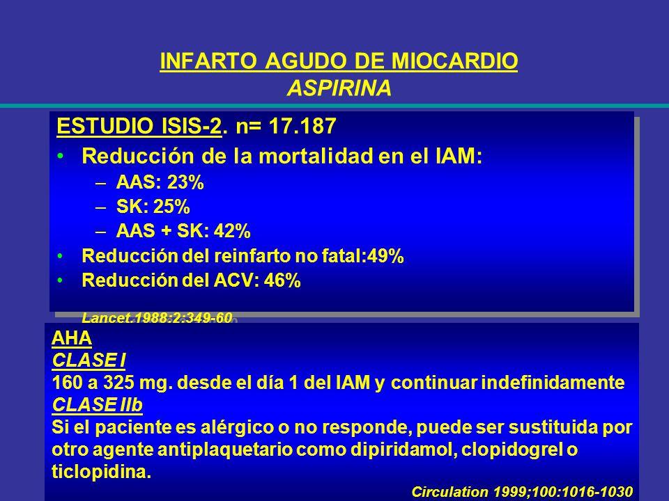 INFARTO AGUDO DE MIOCARDIO ASPIRINA ESTUDIO ISIS-2. n= 17.187 Reducción de la mortalidad en el IAM: –AAS: 23% –SK: 25% –AAS + SK: 42% Reducción del re