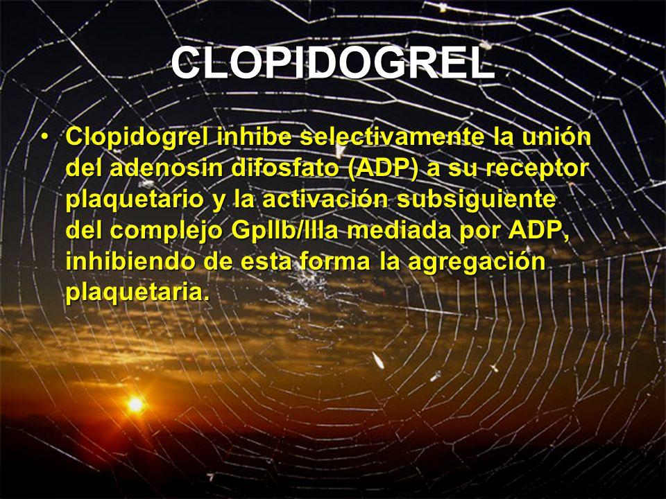 CLOPIDOGREL Clopidogrel inhibe selectivamente la unión del adenosin difosfato (ADP) a su receptor plaquetario y la activación subsiguiente del complej