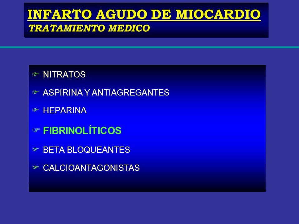 FNITRATOS FASPIRINA Y ANTIAGREGANTES FHEPARINA FFIBRINOLÍTICOS FBETA BLOQUEANTES FCALCIOANTAGONISTAS INFARTO AGUDO DE MIOCARDIO TRATAMIENTO MEDICO
