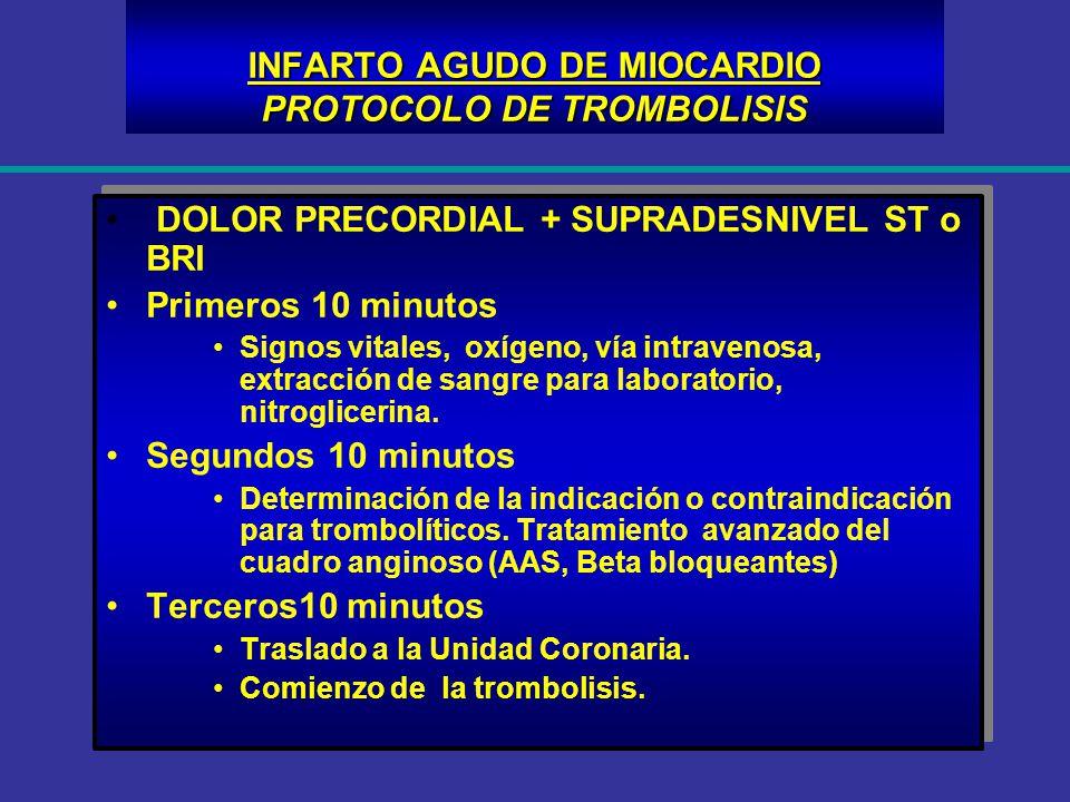 INFARTO AGUDO DE MIOCARDIO PROTOCOLO DE TROMBOLISIS DOLOR PRECORDIAL + SUPRADESNIVEL ST o BRI Primeros 10 minutos Signos vitales, oxígeno, vía intrave