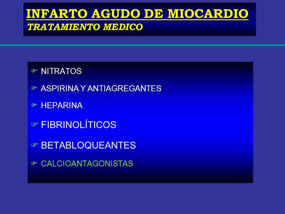 FNITRATOS FASPIRINA Y ANTIAGREGANTES FHEPARINA FFIBRINOLÍTICOS FBETABLOQUEANTES FCALCIOANTAGONISTAS INFARTO AGUDO DE MIOCARDIO TRATAMIENTO MEDICO