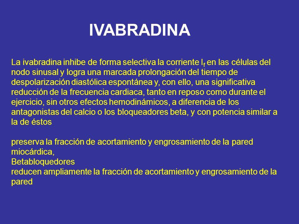 IVABRADINA La ivabradina inhibe de forma selectiva la corriente I f en las células del nodo sinusal y logra una marcada prolongación del tiempo de des