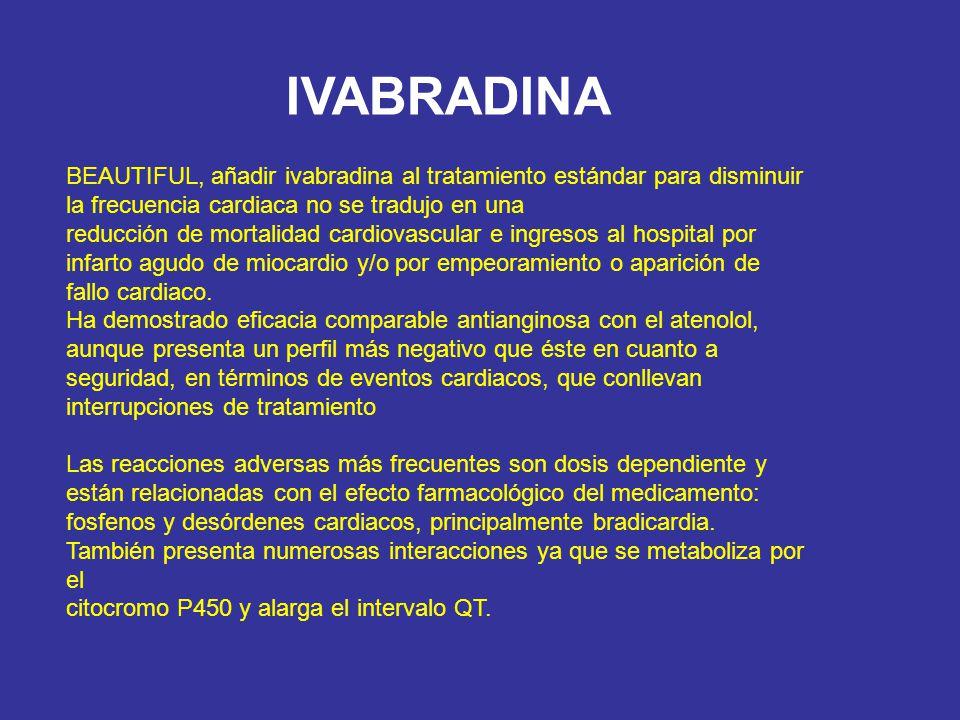 BEAUTIFUL, añadir ivabradina al tratamiento estándar para disminuir la frecuencia cardiaca no se tradujo en una reducción de mortalidad cardiovascular
