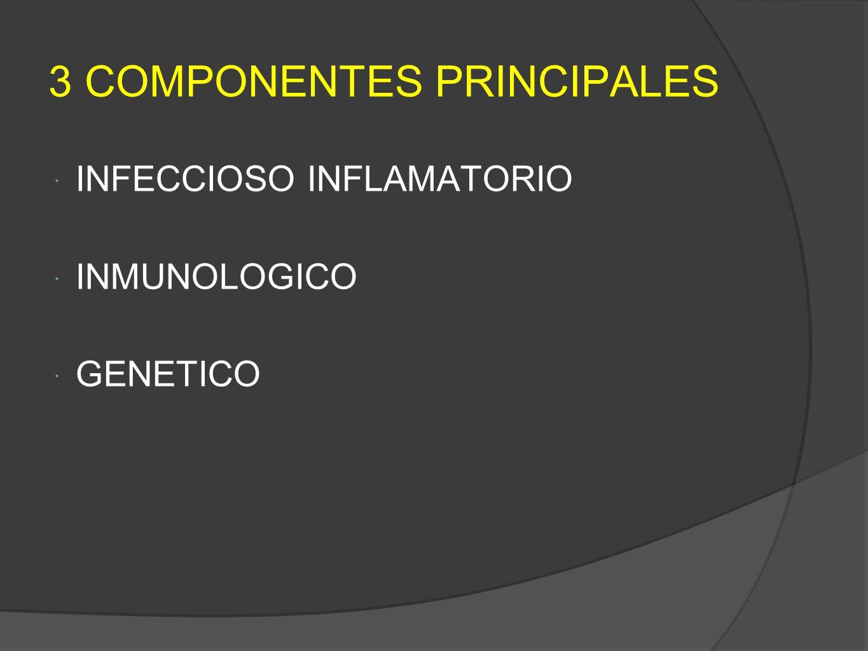 3 COMPONENTES PRINCIPALES INFECCIOSO INFLAMATORIO INMUNOLOGICO GENETICO