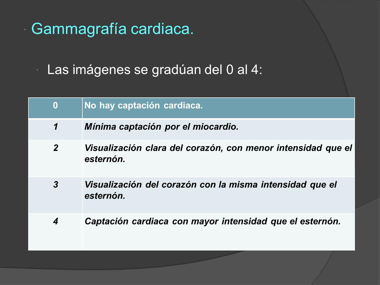 Gammagrafía cardiaca.Las imágenes se gradúan del 0 al 4: 0No hay captación cardiaca.