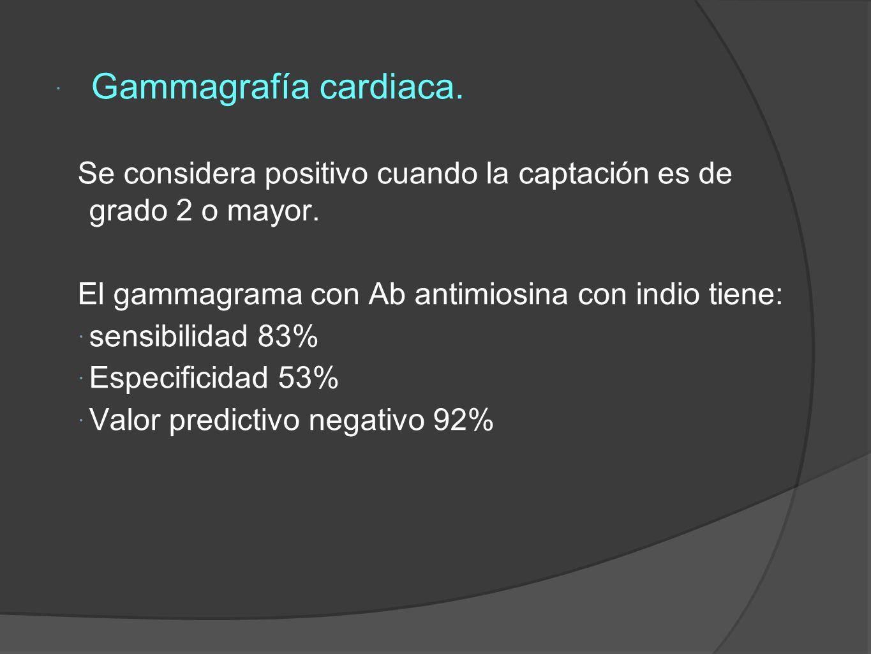 Gammagrafía cardiaca.Se considera positivo cuando la captación es de grado 2 o mayor.