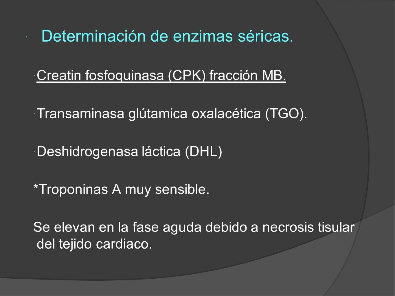 Determinación de enzimas séricas.Creatin fosfoquinasa (CPK) fracción MB.