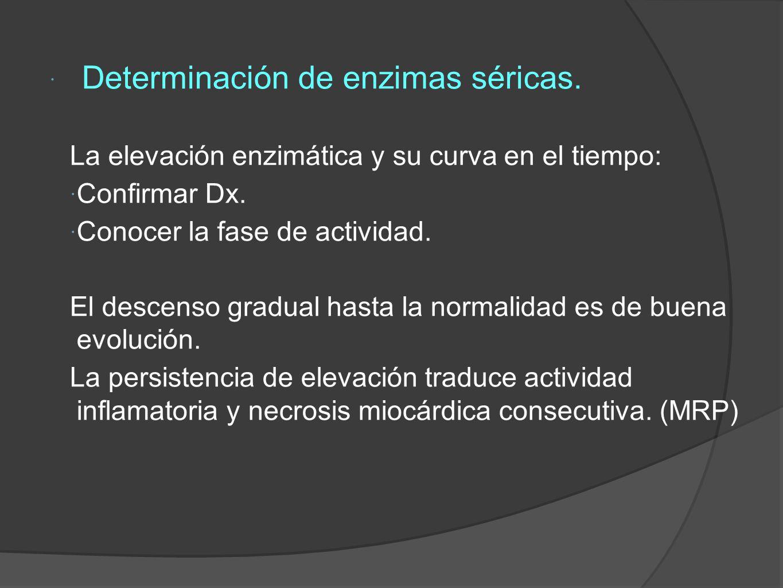 Determinación de enzimas séricas.La elevación enzimática y su curva en el tiempo: Confirmar Dx.