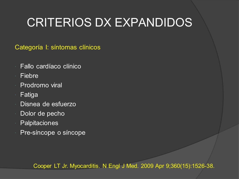 CRITERIOS DX EXPANDIDOS Categoría I: síntomas clínicos Fallo cardíaco clínico Fiebre Prodromo viral Fatiga Disnea de esfuerzo Dolor de pecho Palpitaciones Pre-síncope o síncope Cooper LT Jr.