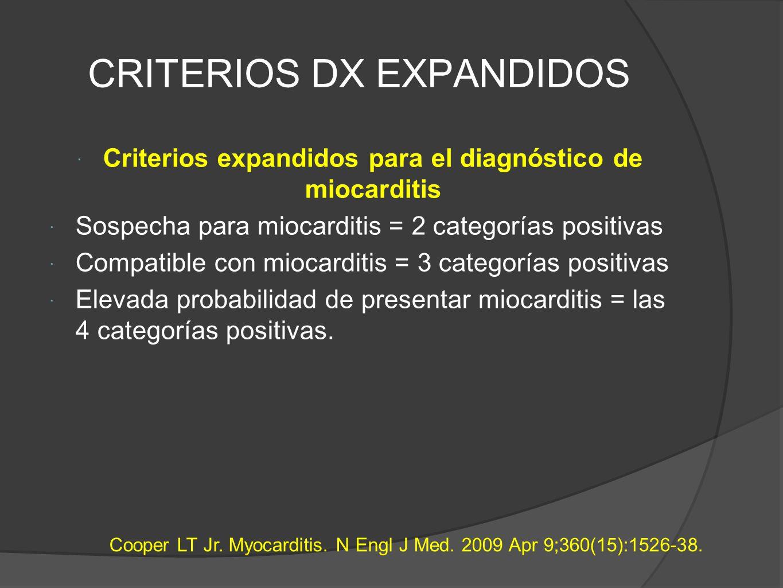 CRITERIOS DX EXPANDIDOS Criterios expandidos para el diagnóstico de miocarditis Sospecha para miocarditis = 2 categorías positivas Compatible con miocarditis = 3 categorías positivas Elevada probabilidad de presentar miocarditis = las 4 categorías positivas.
