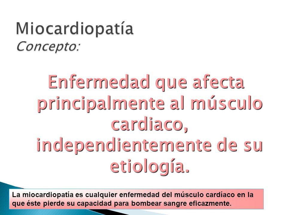 Enfermedad que afecta principalmente al músculo cardiaco, independientemente de su etiología.