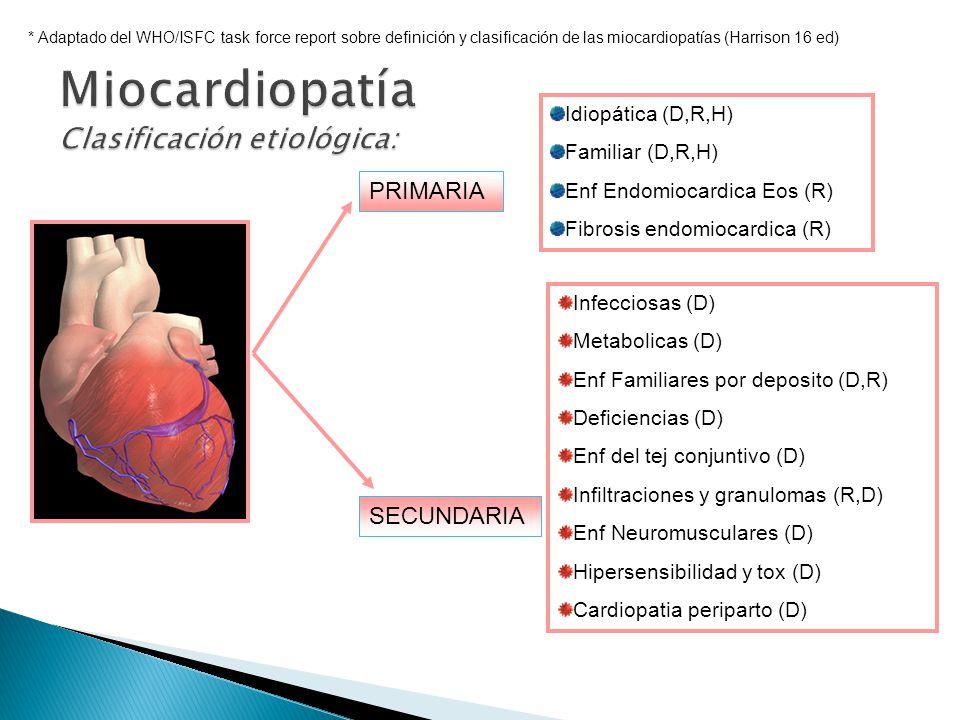 PRIMARIA SECUNDARIA * Adaptado del WHO/ISFC task force report sobre definición y clasificación de las miocardiopatías (Harrison 16 ed) Idiopática (D,R,H) Familiar (D,R,H) Enf Endomiocardica Eos (R) Fibrosis endomiocardica (R) Infecciosas (D) Metabolicas (D) Enf Familiares por deposito (D,R) Deficiencias (D) Enf del tej conjuntivo (D) Infiltraciones y granulomas (R,D) Enf Neuromusculares (D) Hipersensibilidad y tox (D) Cardiopatia periparto (D)