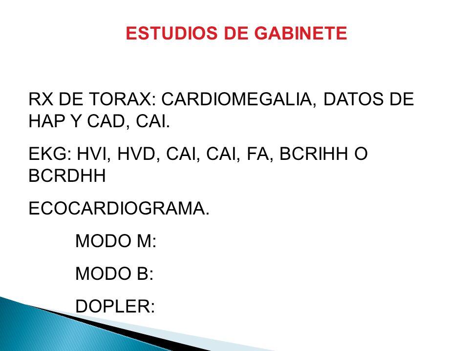 ESTUDIOS DE GABINETE RX DE TORAX: CARDIOMEGALIA, DATOS DE HAP Y CAD, CAI.