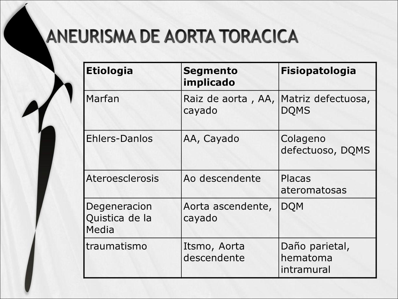 Etiologia Segmento implicado Fisiopatologia MarfanRaiz de aorta, AA, cayado Matriz defectuosa, DQMS Ehlers-DanlosAA, CayadoColageno defectuoso, DQMS AteroesclerosisAo descendentePlacas ateromatosas Degeneracion Quistica de la Media Aorta ascendente, cayado DQM traumatismoItsmo, Aorta descendente Daño parietal, hematoma intramural
