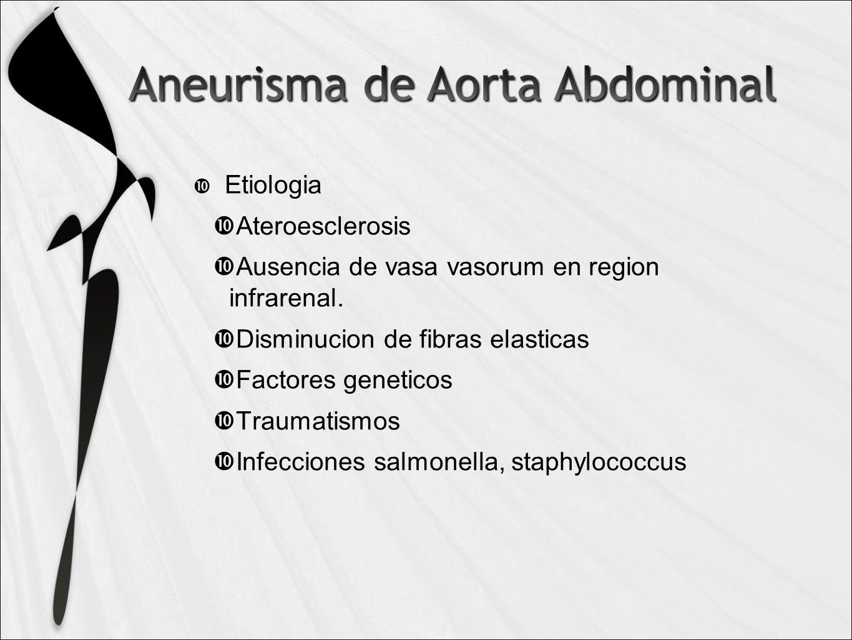 Etiologia Ateroesclerosis Ausencia de vasa vasorum en region infrarenal.