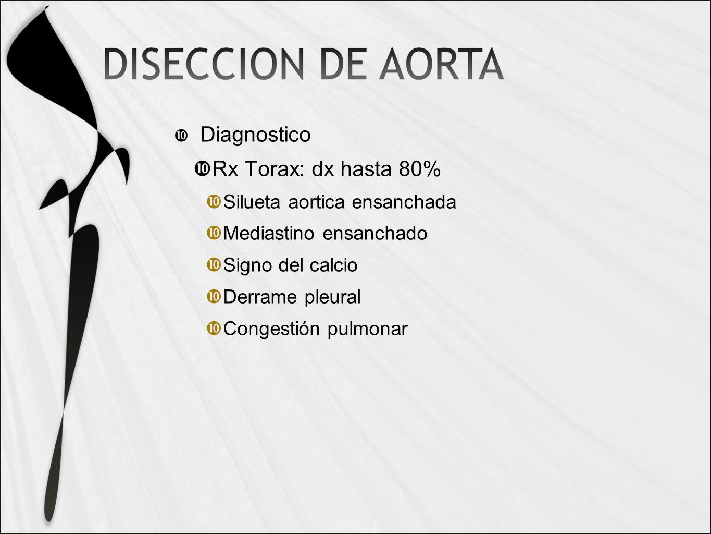 Diagnostico Rx Torax: dx hasta 80% Silueta aortica ensanchada Mediastino ensanchado Signo del calcio Derrame pleural Congestión pulmonar