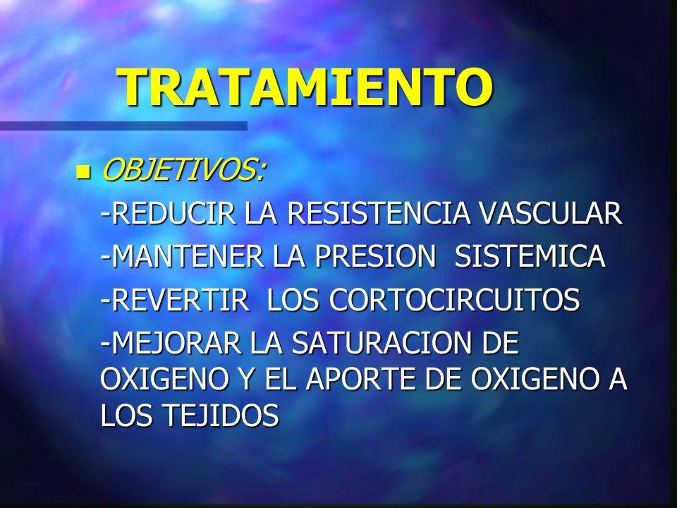TRATAMIENTO n OBJETIVOS: -REDUCIR LA RESISTENCIA VASCULAR -MANTENER LA PRESION SISTEMICA -REVERTIR LOS CORTOCIRCUITOS -MEJORAR LA SATURACION DE OXIGEN