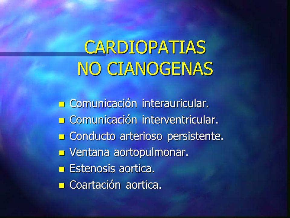 CARDIOPATIAS NO CIANOGENAS n Comunicación interauricular. n Comunicación interventricular. n Conducto arterioso persistente. n Ventana aortopulmonar.