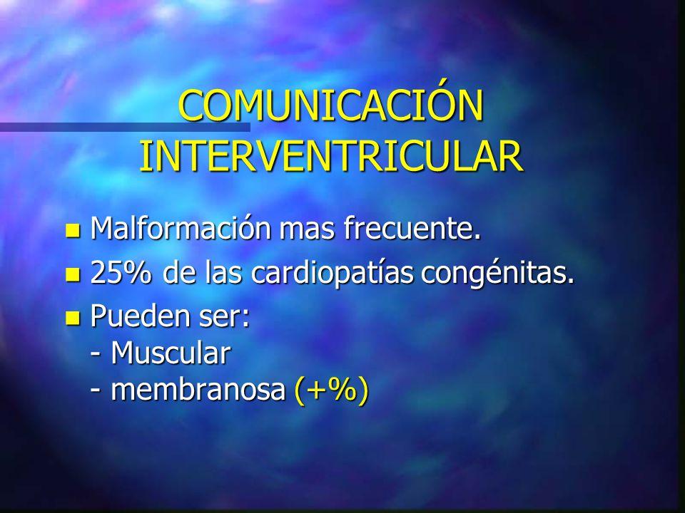 COMUNICACIÓN INTERVENTRICULAR n Malformación mas frecuente. n 25% de las cardiopatías congénitas. n Pueden ser: - Muscular - membranosa (+%)