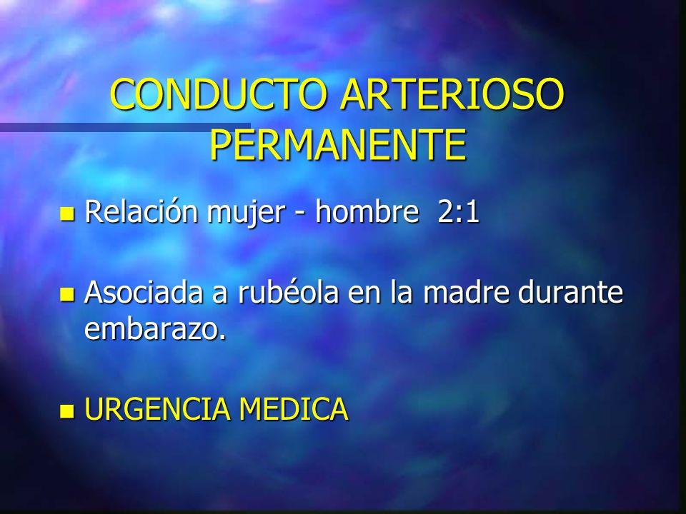 CONDUCTO ARTERIOSO PERMANENTE n Relación mujer - hombre 2:1 n Asociada a rubéola en la madre durante embarazo. n URGENCIA MEDICA