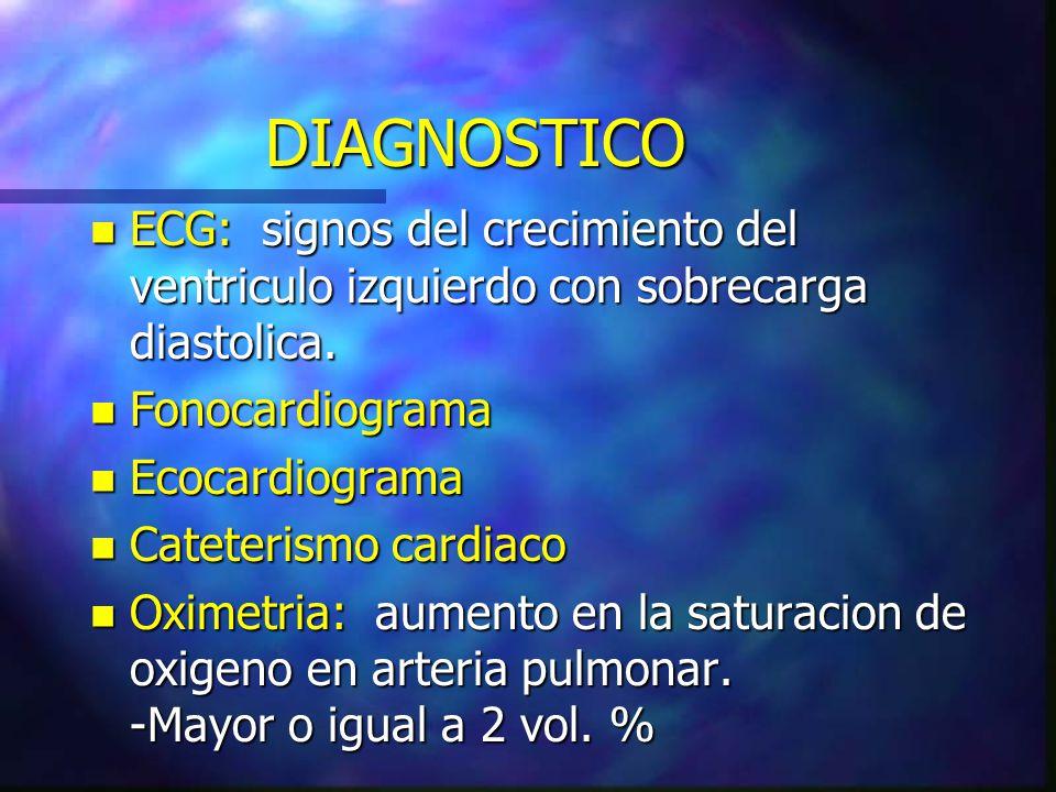 DIAGNOSTICO n ECG: signos del crecimiento del ventriculo izquierdo con sobrecarga diastolica. n Fonocardiograma n Ecocardiograma n Cateterismo cardiac