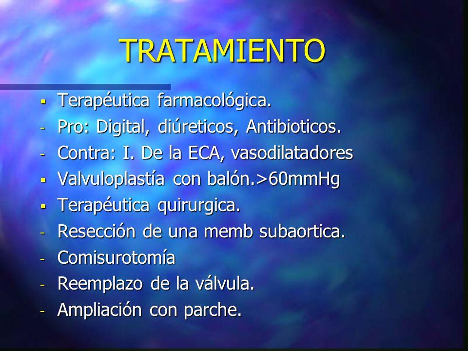 TRATAMIENTO Terapéutica farmacológica. Terapéutica farmacológica. - Pro: Digital, diúreticos, Antibioticos. - Contra: I. De la ECA, vasodilatadores Va