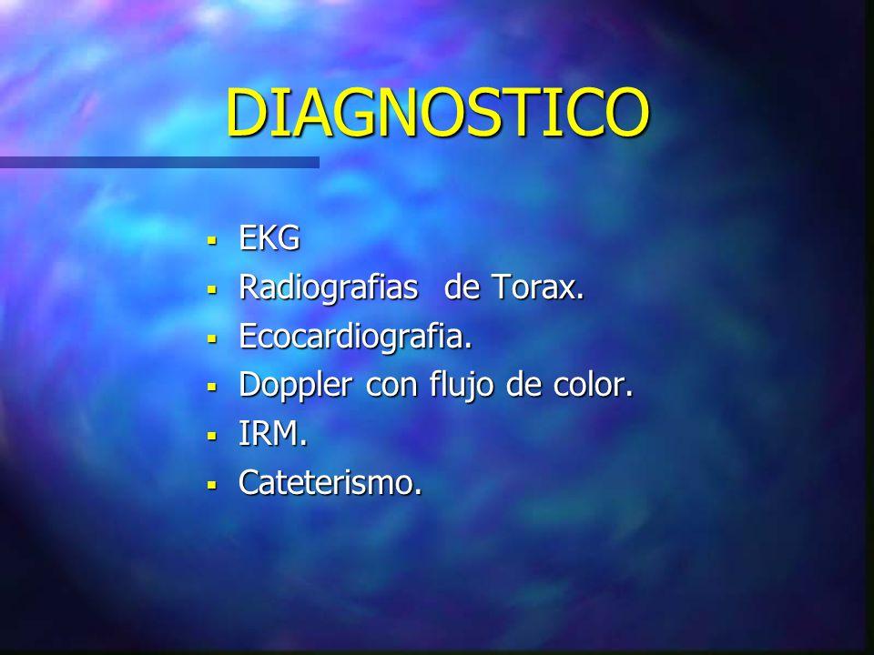 DIAGNOSTICO EKG EKG Radiografias de Torax. Radiografias de Torax. Ecocardiografia. Ecocardiografia. Doppler con flujo de color. Doppler con flujo de c