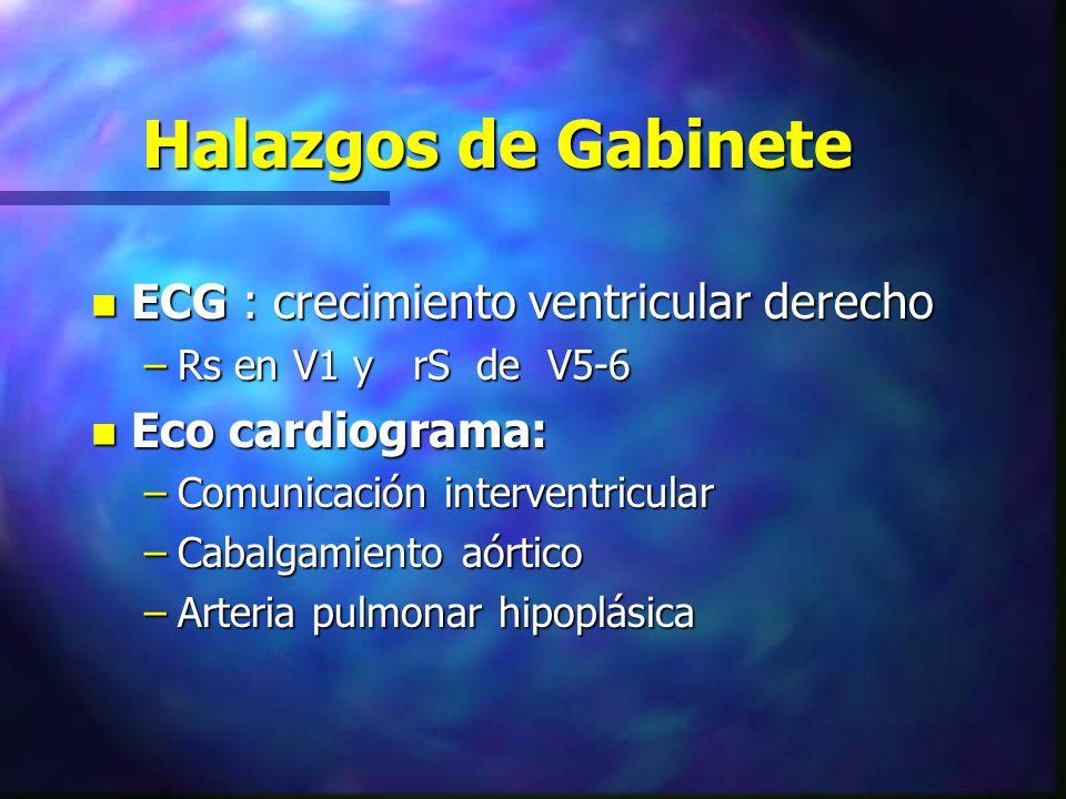 Halazgos de Gabinete n ECG : crecimiento ventricular derecho –Rs en V1 y rS de V5-6 n Eco cardiograma: –Comunicación interventricular –Cabalgamiento a