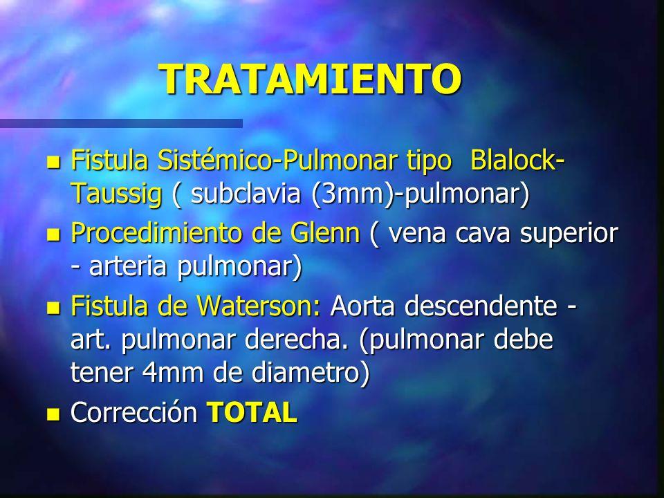 TRATAMIENTO n Fistula Sistémico-Pulmonar tipo Blalock- Taussig ( subclavia (3mm)-pulmonar) n Procedimiento de Glenn ( vena cava superior - arteria pul