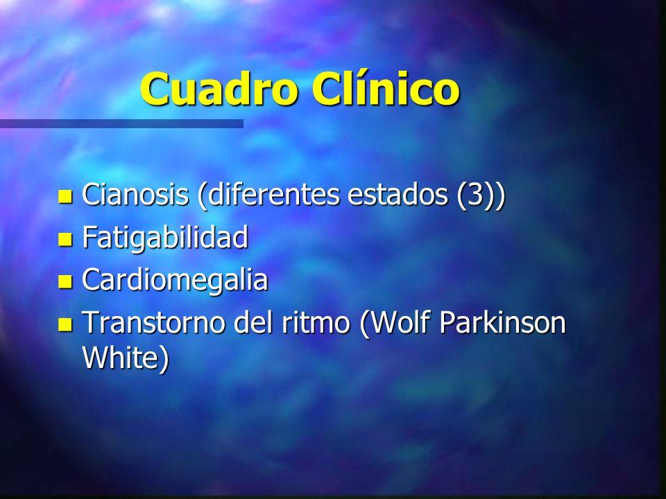 Cuadro Clínico n Cianosis (diferentes estados (3)) n Fatigabilidad n Cardiomegalia n Transtorno del ritmo (Wolf Parkinson White)