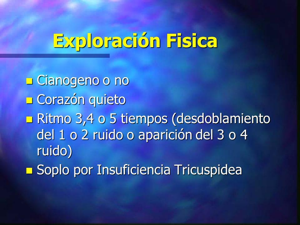 Exploración Fisica n Cianogeno o no n Corazón quieto n Ritmo 3,4 o 5 tiempos (desdoblamiento del 1 o 2 ruido o aparición del 3 o 4 ruido) n Soplo por