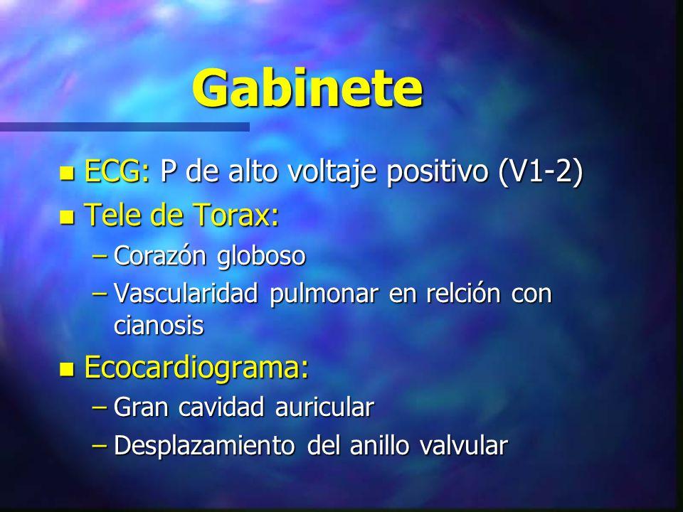 Gabinete n ECG: P de alto voltaje positivo (V1-2) n Tele de Torax: –Corazón globoso –Vascularidad pulmonar en relción con cianosis n Ecocardiograma: –