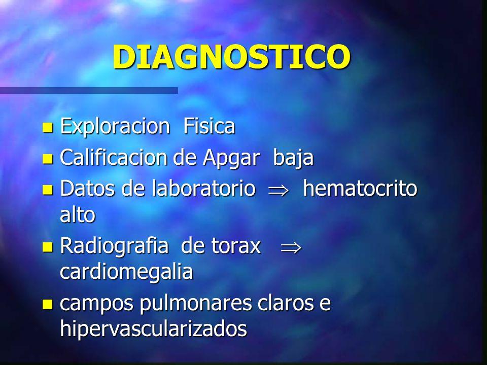 DIAGNOSTICO n Exploracion Fisica n Calificacion de Apgar baja n Datos de laboratorio hematocrito alto n Radiografia de torax cardiomegalia n campos pu