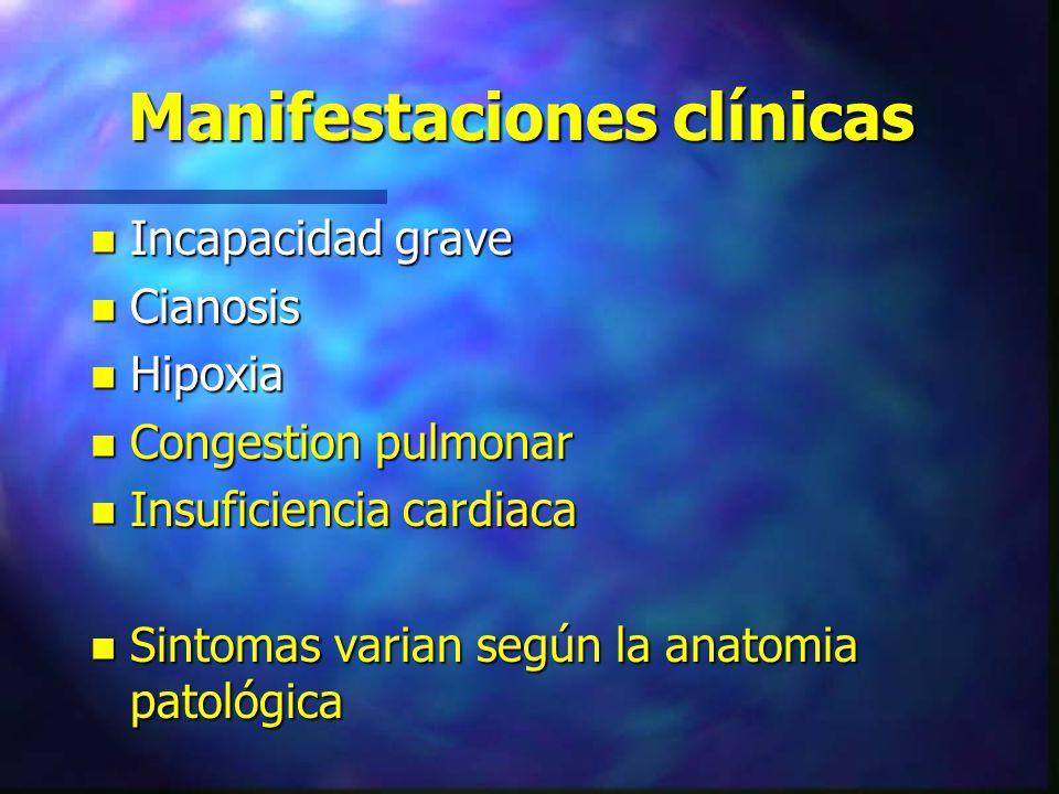 Manifestaciones clínicas n Incapacidad grave n Cianosis n Hipoxia n Congestion pulmonar n Insuficiencia cardiaca n Sintomas varian según la anatomia p