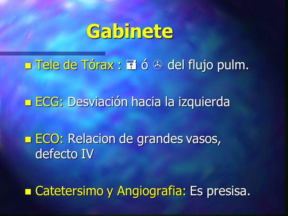 Gabinete n Tele de Tórax : ó del flujo pulm. n ECG: Desviación hacia la izquierda n ECO: Relacion de grandes vasos, defecto IV n Catetersimo y Angiogr