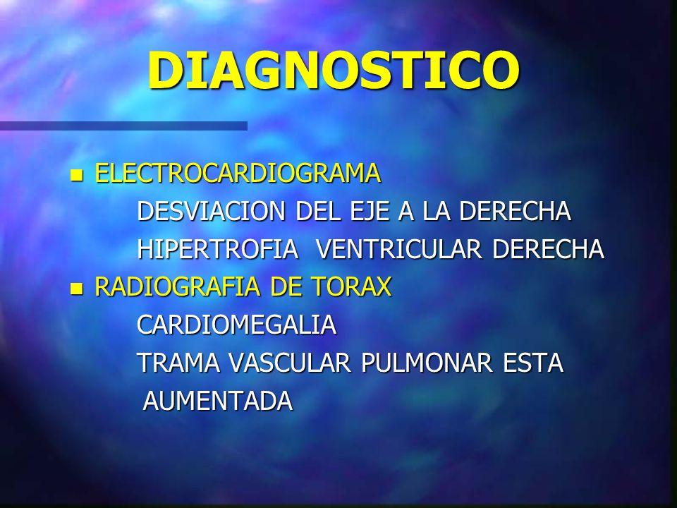 DIAGNOSTICO n ELECTROCARDIOGRAMA DESVIACION DEL EJE A LA DERECHA HIPERTROFIA VENTRICULAR DERECHA n RADIOGRAFIA DE TORAX CARDIOMEGALIA TRAMA VASCULAR P
