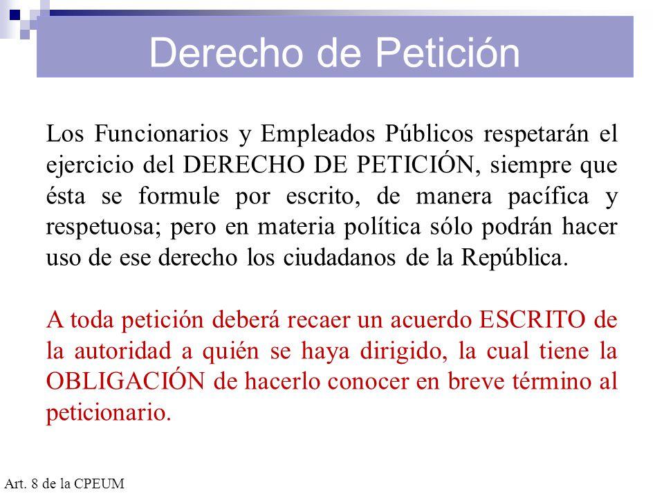 Derecho de Petición Requisitos Art.