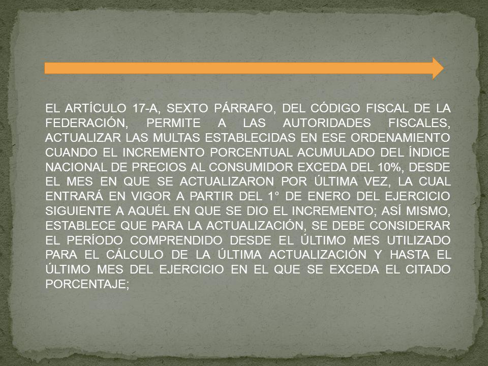 EL ARTÍCULO 17-A, SEXTO PÁRRAFO, DEL CÓDIGO FISCAL DE LA FEDERACIÓN, PERMITE A LAS AUTORIDADES FISCALES, ACTUALIZAR LAS MULTAS ESTABLECIDAS EN ESE ORD