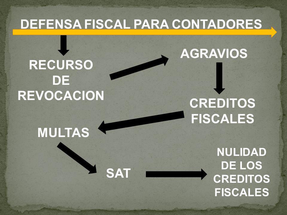 DEFENSA FISCAL PARA CONTADORES SAT RECURSO DE REVOCACION MULTAS AGRAVIOS CREDITOS FISCALES NULIDAD DE LOS CREDITOS FISCALES