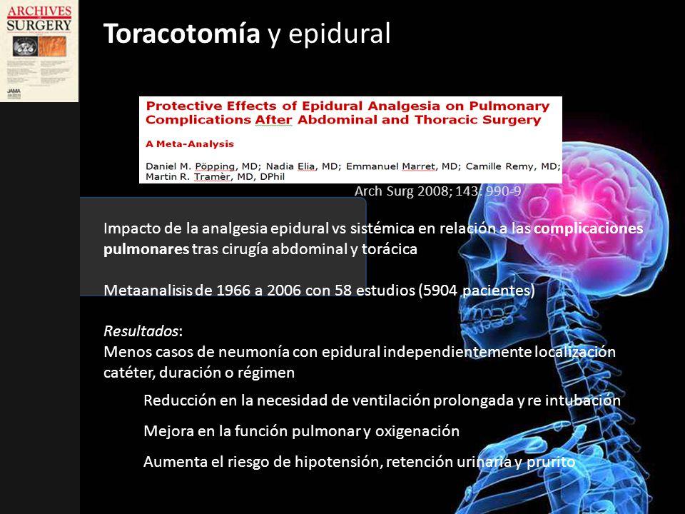 Impacto de la analgesia epidural vs sistémica en relación a las complicaciones pulmonares tras cirugía abdominal y torácica Metaanalisis de 1966 a 200