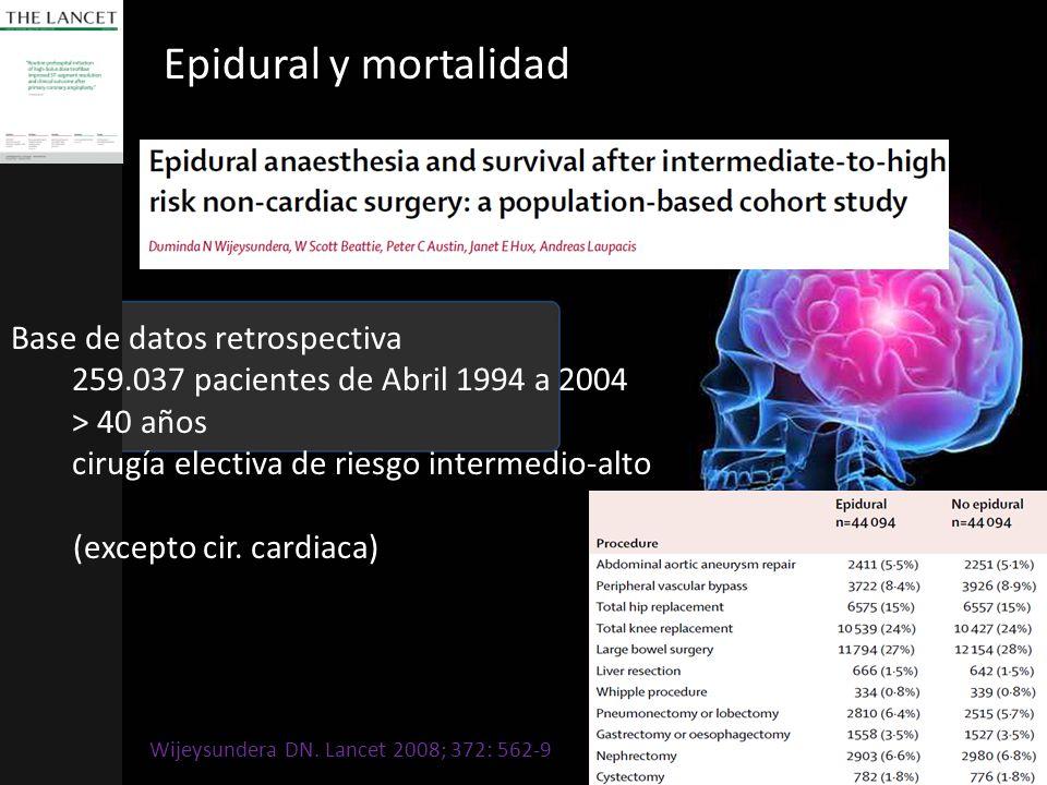 Epidural y mortalidad Base de datos retrospectiva 259.037 pacientes de Abril 1994 a 2004 > 40 años cirugía electiva de riesgo intermedio-alto (excepto cir.