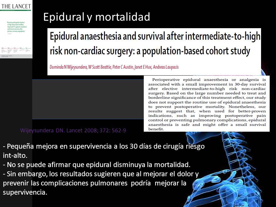 Epidural y mortalidad - Pequeña mejora en supervivencia a los 30 días de cirugía riesgo int-alto. - No se puede afirmar que epidural disminuya la mort